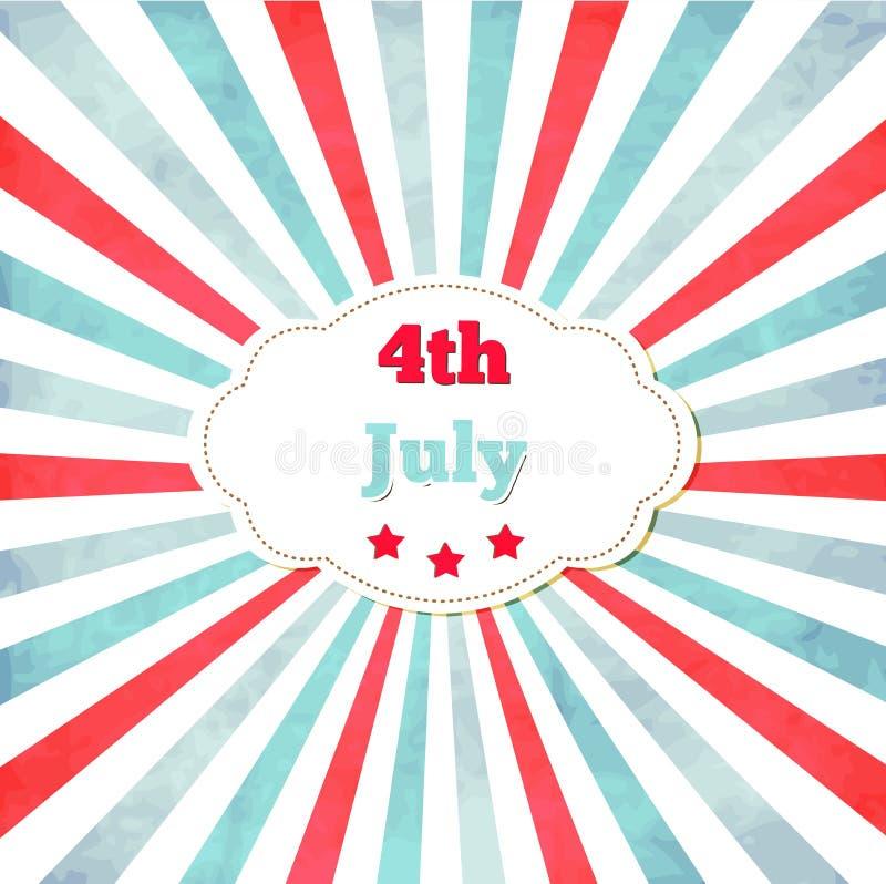 Винтажный шаблон для 4-ое -го июль с рамкой иллюстрация штока