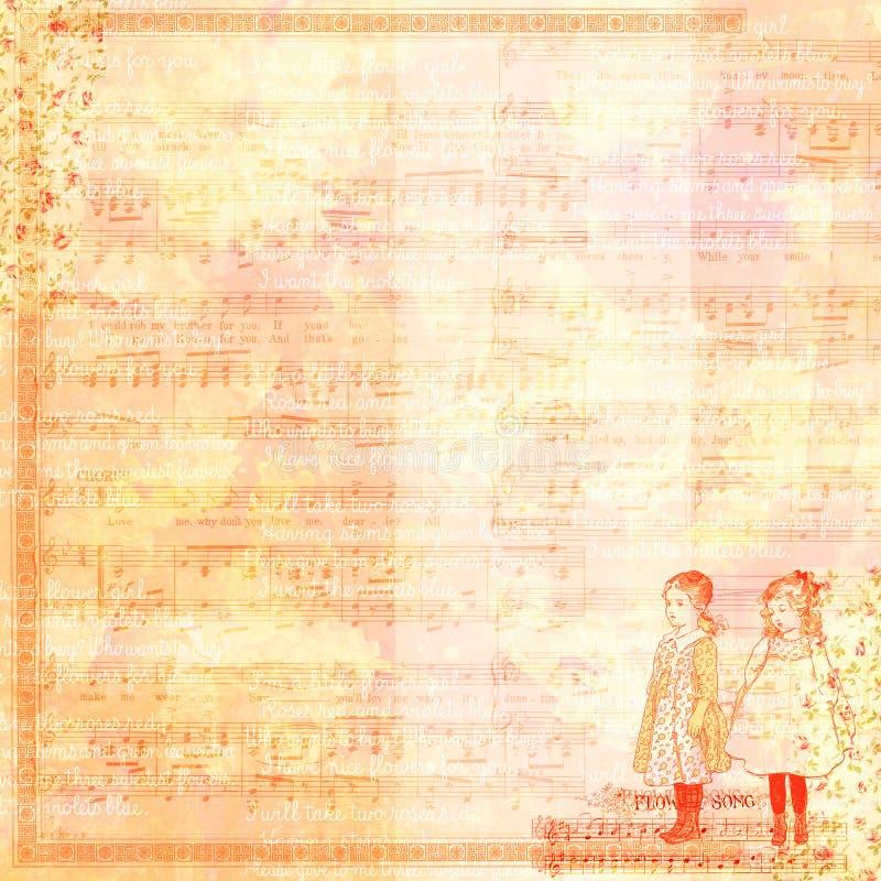 Винтажный шаблон scrapbook девушек бесплатная иллюстрация