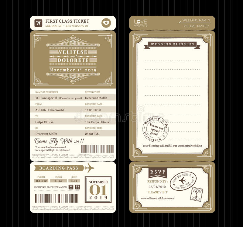 Винтажный шаблон v приглашения свадьбы билета посадочного талона стиля иллюстрация вектора