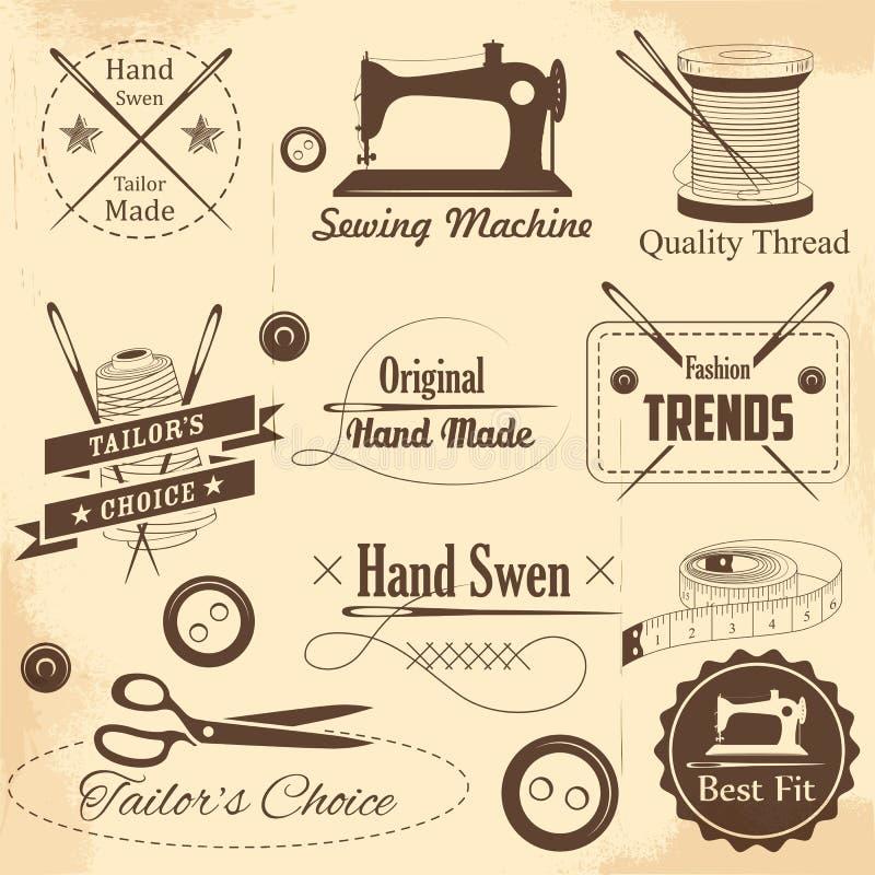 Винтажный шить стиля и ярлык портноя бесплатная иллюстрация