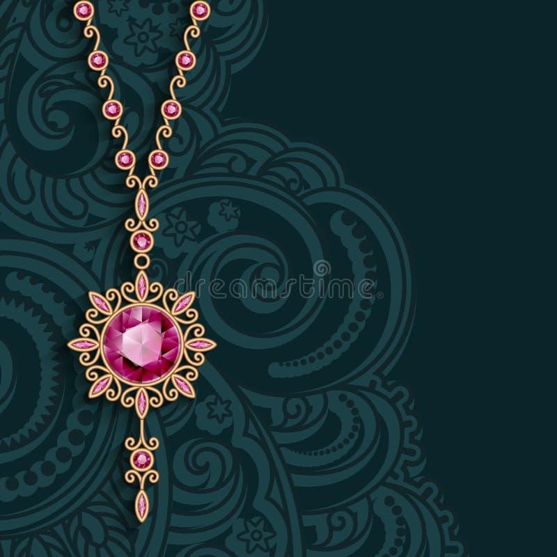 Винтажный шкентель ювелирных изделий золота с драгоценными камнями бесплатная иллюстрация