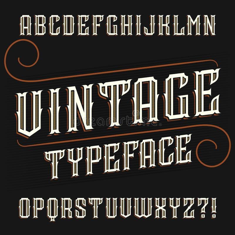Винтажный шрифт алфавита Богато украшенное декоративное в ретро стиле иллюстрация штока