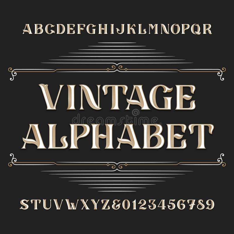 Винтажный шрифт вектора алфавита Напечатайте письма и номера бесплатная иллюстрация