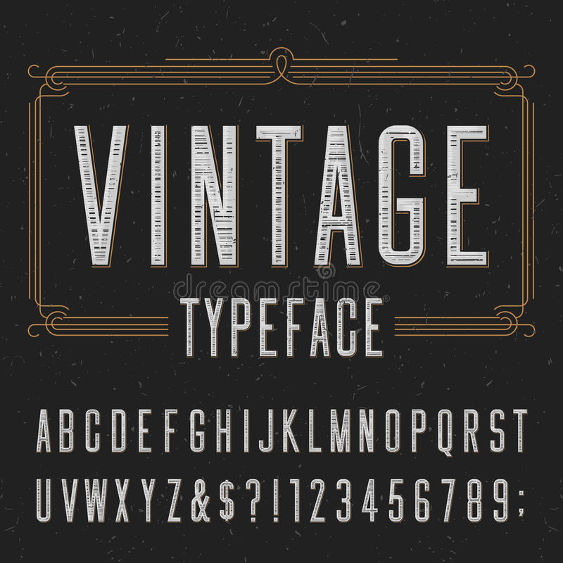 Винтажный шрифт вектора алфавита с огорченной текстурой верхнего слоя иллюстрация штока