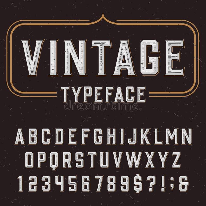 Винтажный шрифт вектора алфавита с огорченной текстурой верхнего слоя бесплатная иллюстрация
