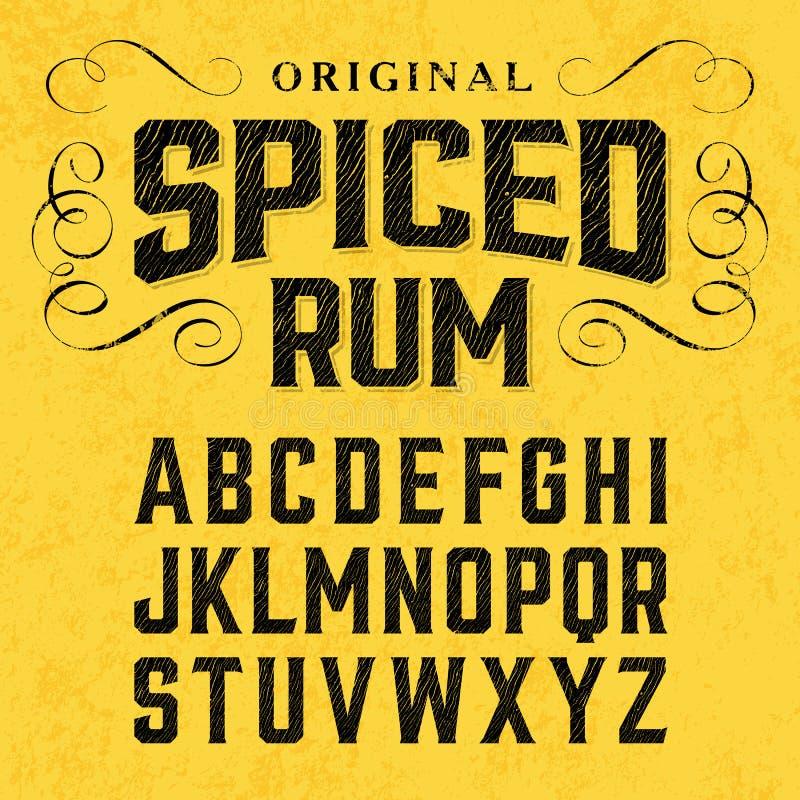 Винтажный шрифт ярлыка стиля с образцом дизайна иллюстрация вектора