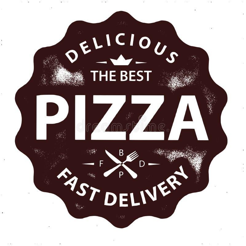 Винтажный штемпель логотипа пиццы вектора иллюстрация штока