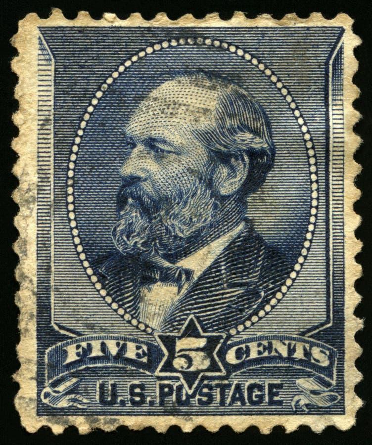 Винтажный штемпель почтового сбора США 1880s президента Гарфилда стоковая фотография