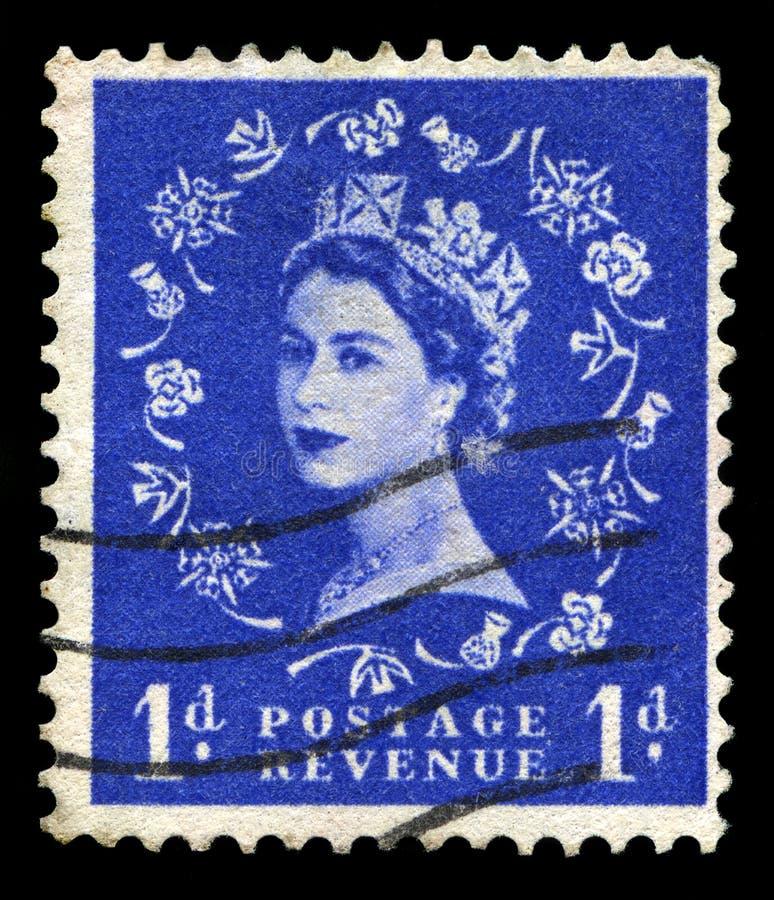 Винтажный штемпель почтового сбора ферзя Элизабета II стоковое изображение