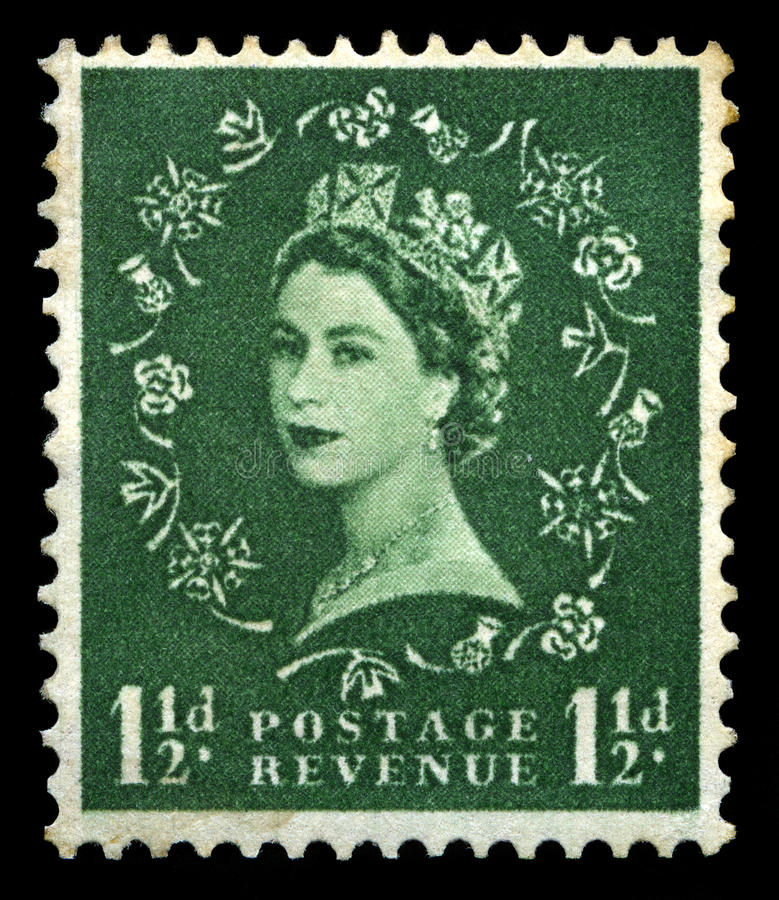 Винтажный штемпель почтового сбора ферзя Элизабета II стоковые изображения rf