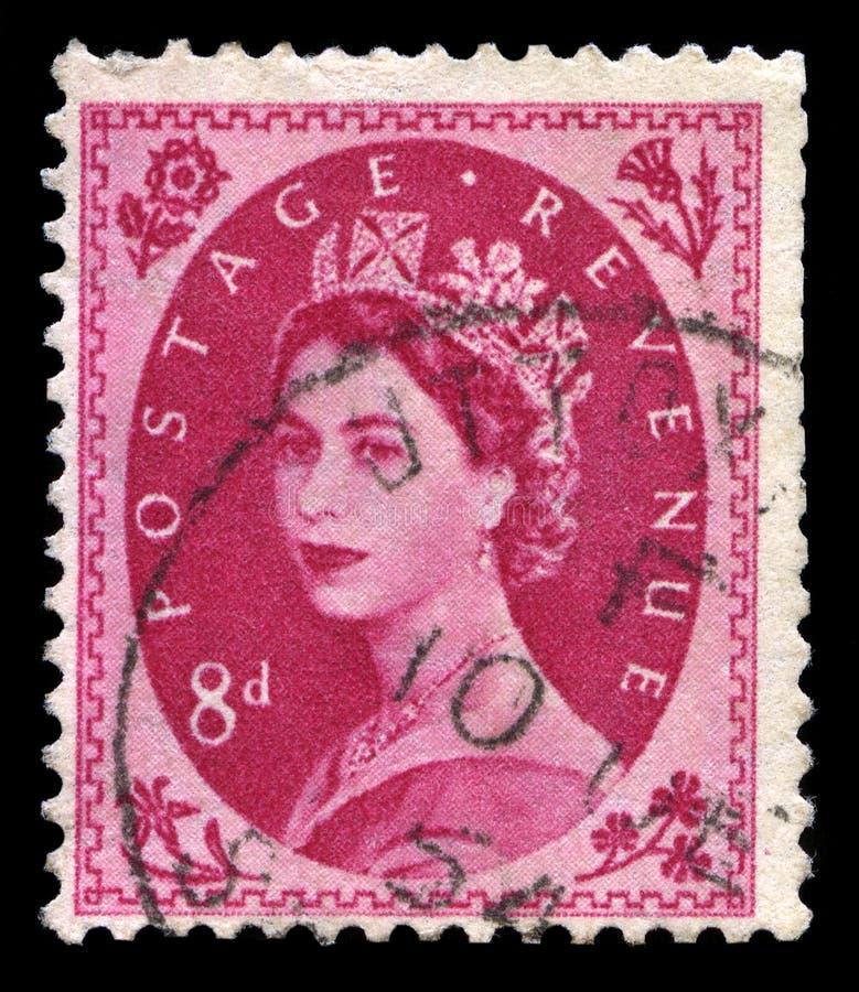 Винтажный штемпель почтового сбора ферзя Элизабета II стоковые фотографии rf