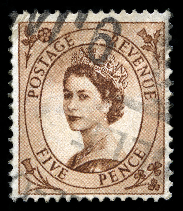 Винтажный штемпель почтового сбора ферзя Элизабета II стоковое фото rf