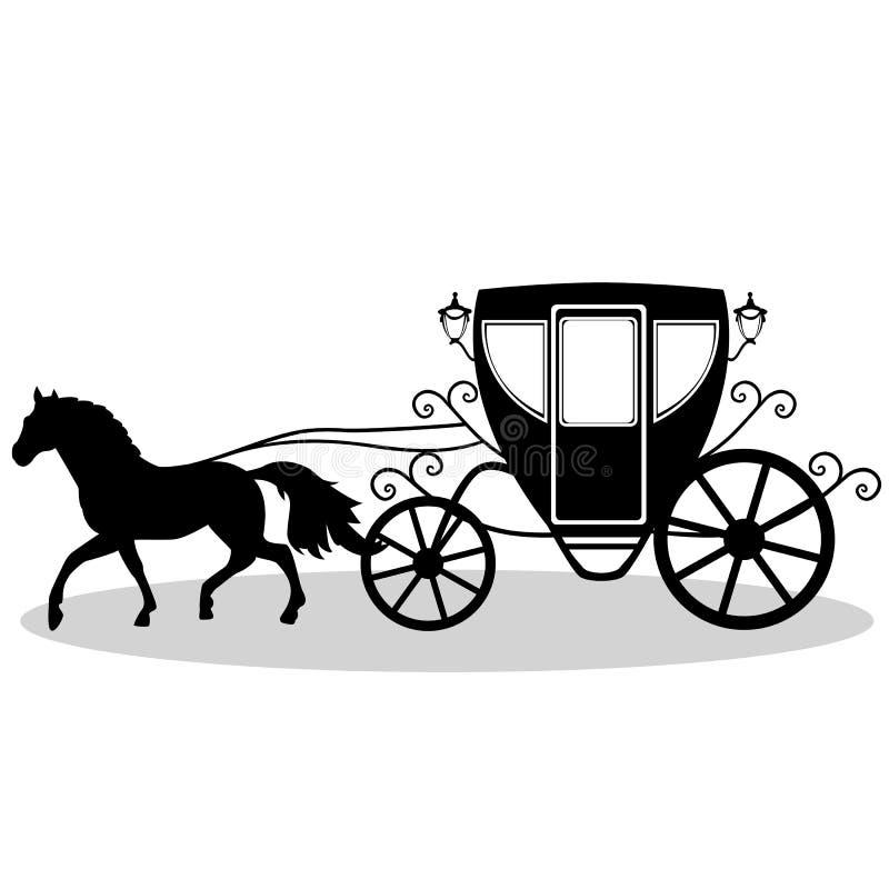 Винтажный экипаж с лошадью бесплатная иллюстрация