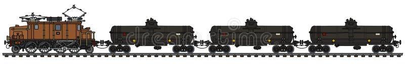 Винтажный электрический поезд танка иллюстрация вектора