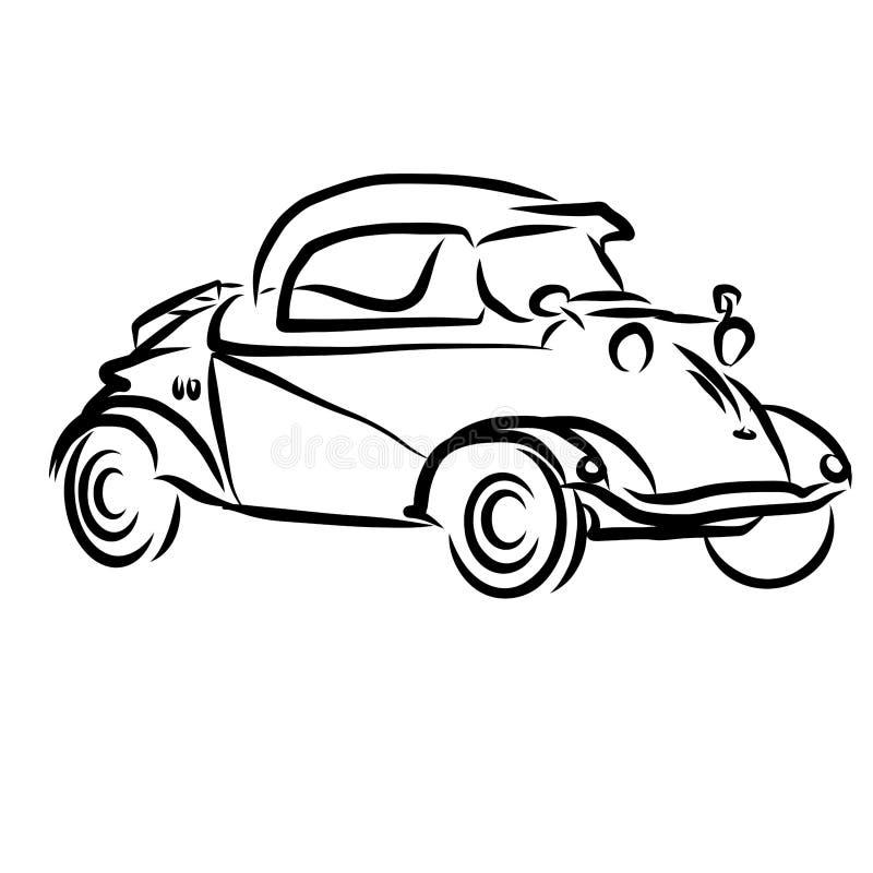 Винтажный эскиз плана автомобиля концепции иллюстрация вектора