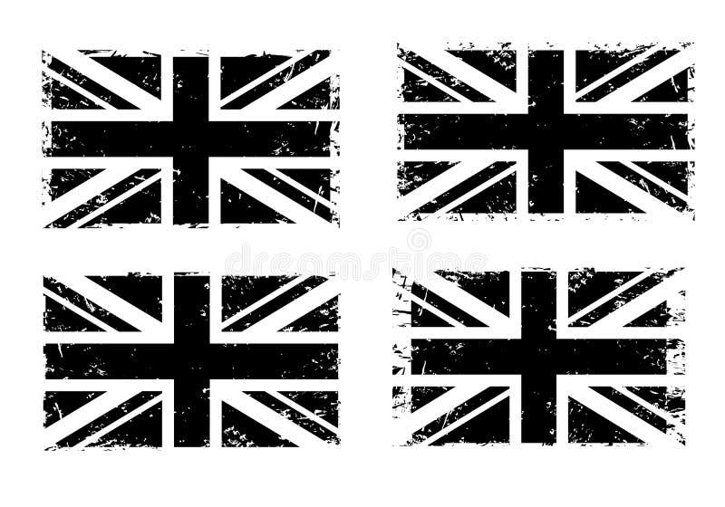 Винтажный Юнион Джек, набор флага grunge Великобритании, черное изолированный на белой предпосылке, иллюстрации бесплатная иллюстрация