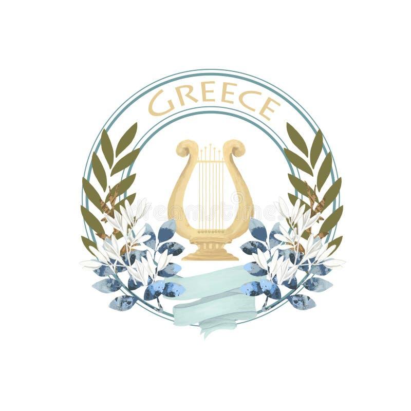 Винтажный ярлык древней греции с прованской арфой и лента красят иллюстрацию букета изолированную значком на белом backgound бесплатная иллюстрация