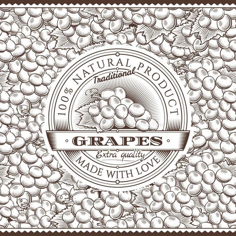 Винтажный ярлык виноградин на безшовной картине бесплатная иллюстрация
