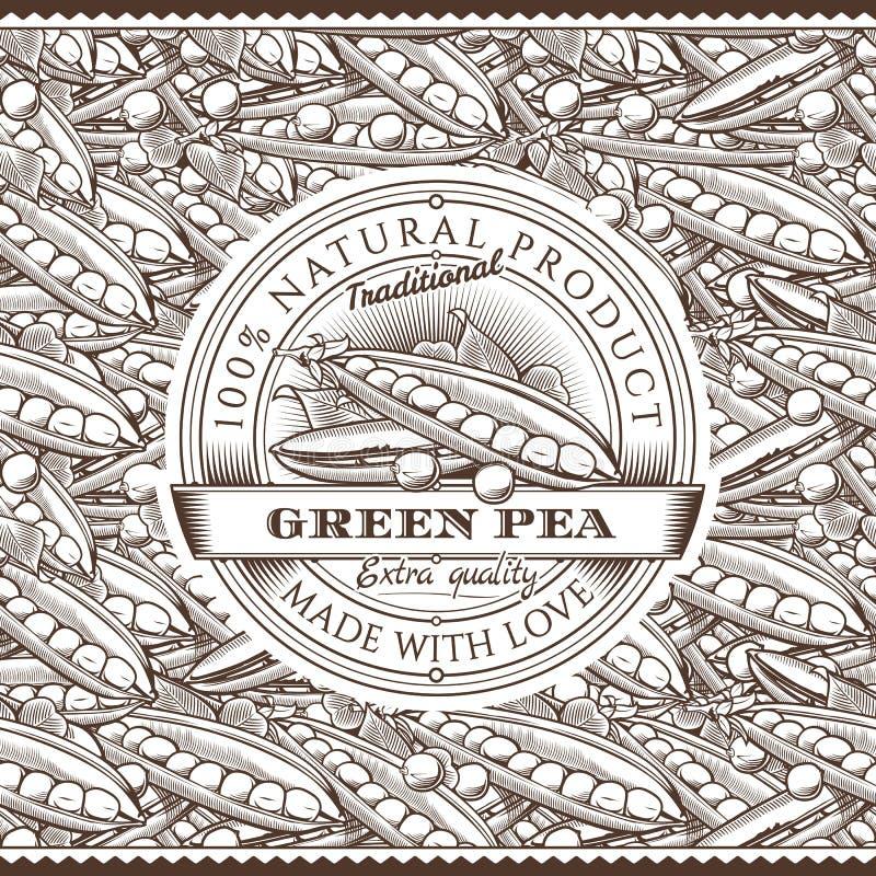 Винтажный ярлык зеленых горохов на безшовной картине бесплатная иллюстрация