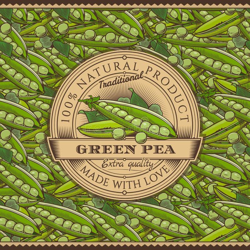 Винтажный ярлык зеленых горохов на безшовной картине иллюстрация штока