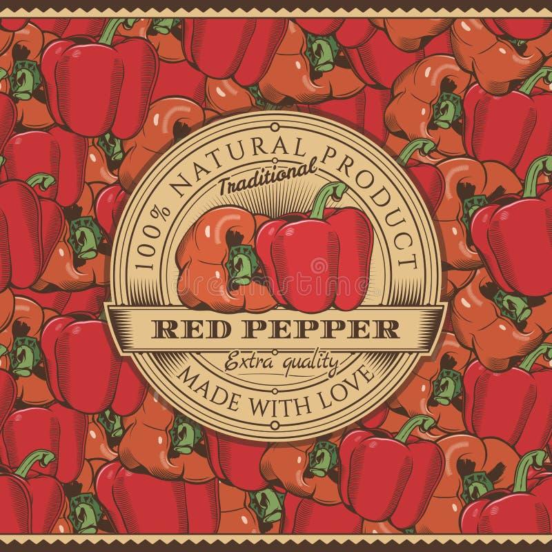 Винтажный ярлык красного перца на безшовной картине иллюстрация штока