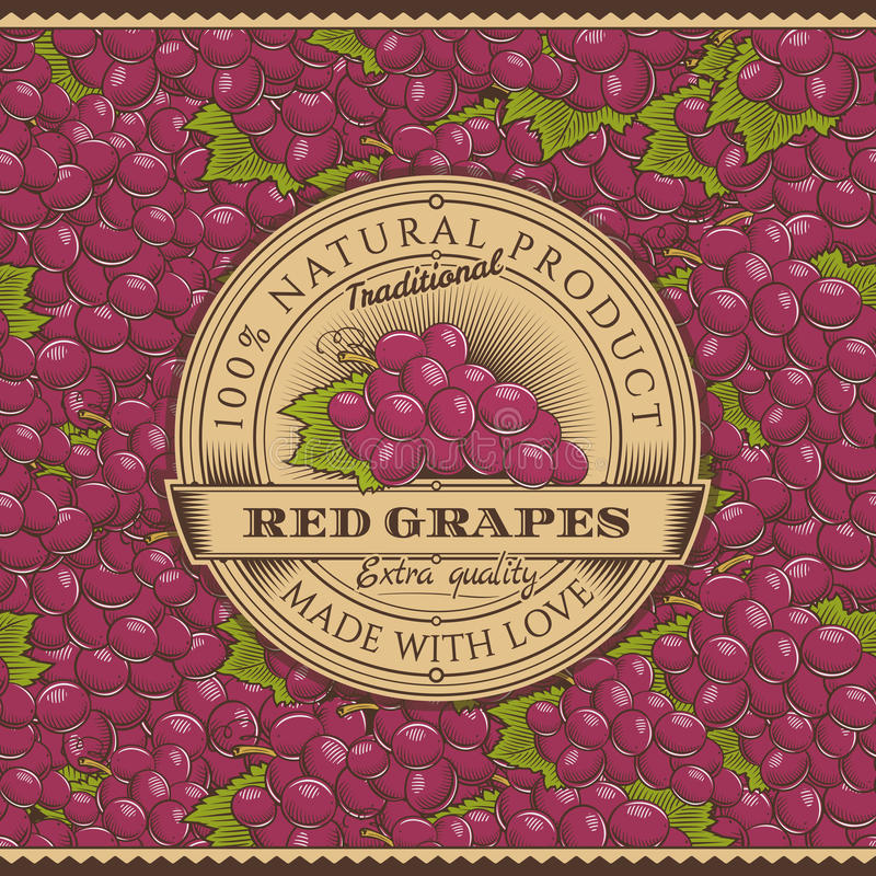 Винтажный ярлык красных виноградин на безшовной картине иллюстрация вектора