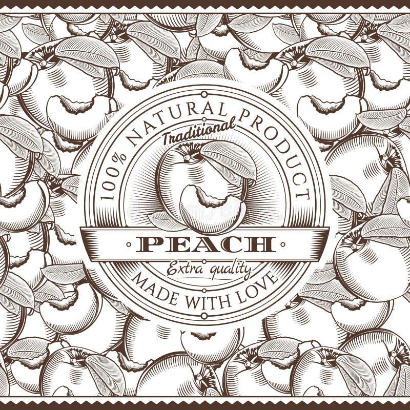 Винтажный ярлык персика на безшовной картине бесплатная иллюстрация