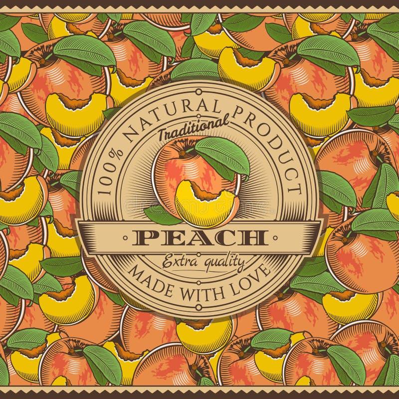 Винтажный ярлык персика на безшовной картине иллюстрация штока
