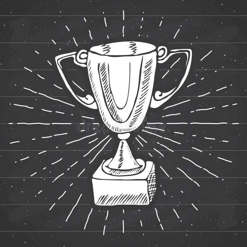 Винтажный ярлык, рука нарисованный трофей спорта, приз победителей, grunge текстурировал ретро значок, печать футболки дизайна оф иллюстрация штока