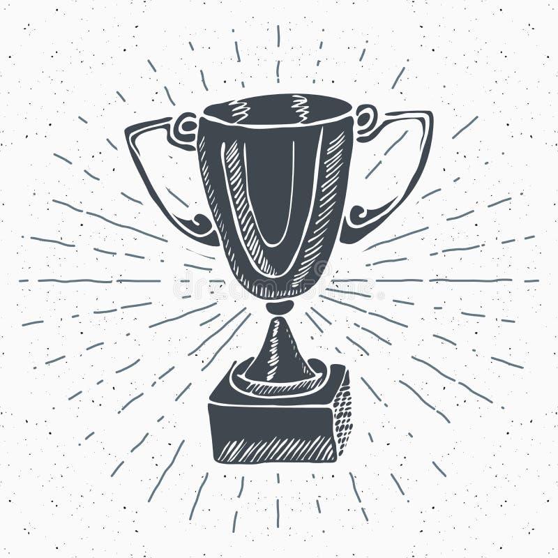 Винтажный ярлык, рука нарисованный трофей спорта, приз победителей, grunge текстурировал ретро значок иллюстрация штока