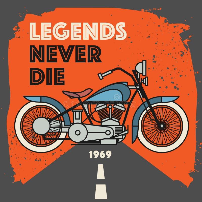 Винтажный ярлык спорта мотоцикла иллюстрация штока