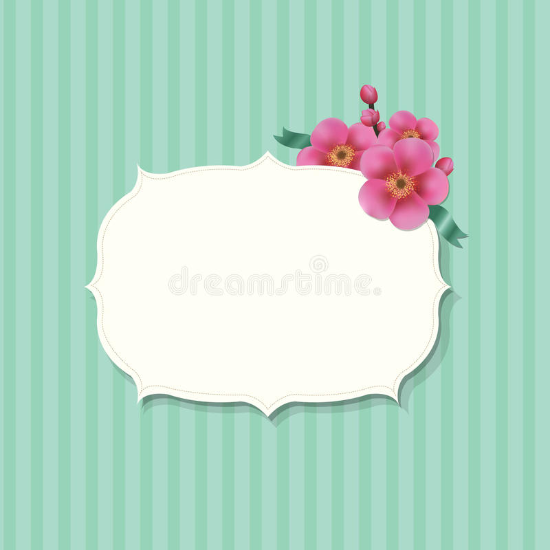 Винтажный ярлык с цветками Сакуры стоковые изображения