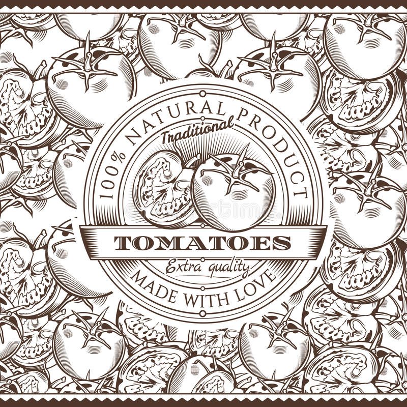 Винтажный ярлык томатов на безшовной картине бесплатная иллюстрация