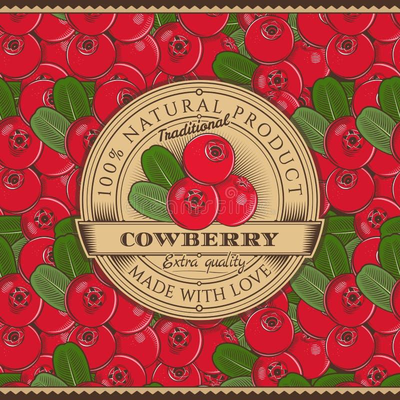 Винтажный ярлык Cowberry на безшовной картине бесплатная иллюстрация