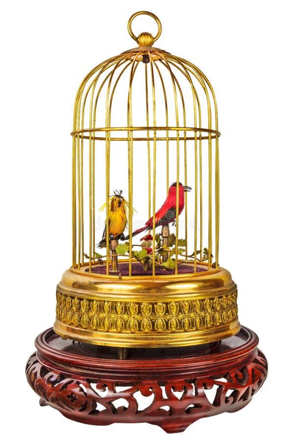 Винтажный birdcage при поддельные маленькие птицы изолированные на белизне стоковая фотография
