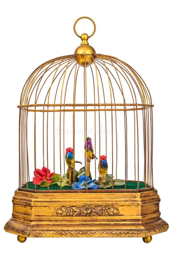 Винтажный birdcage при поддельные птицы изолированные на белизне стоковая фотография