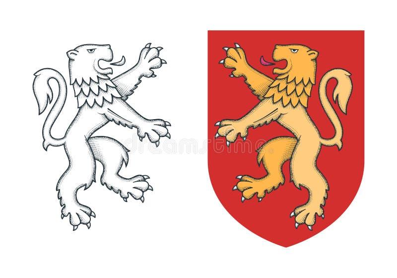 Винтажный heraldic необузданный лев иллюстрация штока