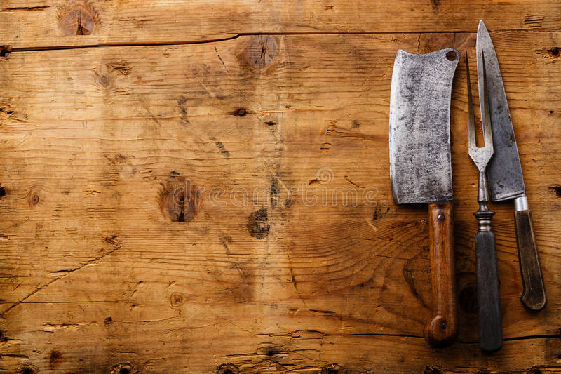 Винтажный kitchenware на деревянной предпосылке стоковое изображение rf