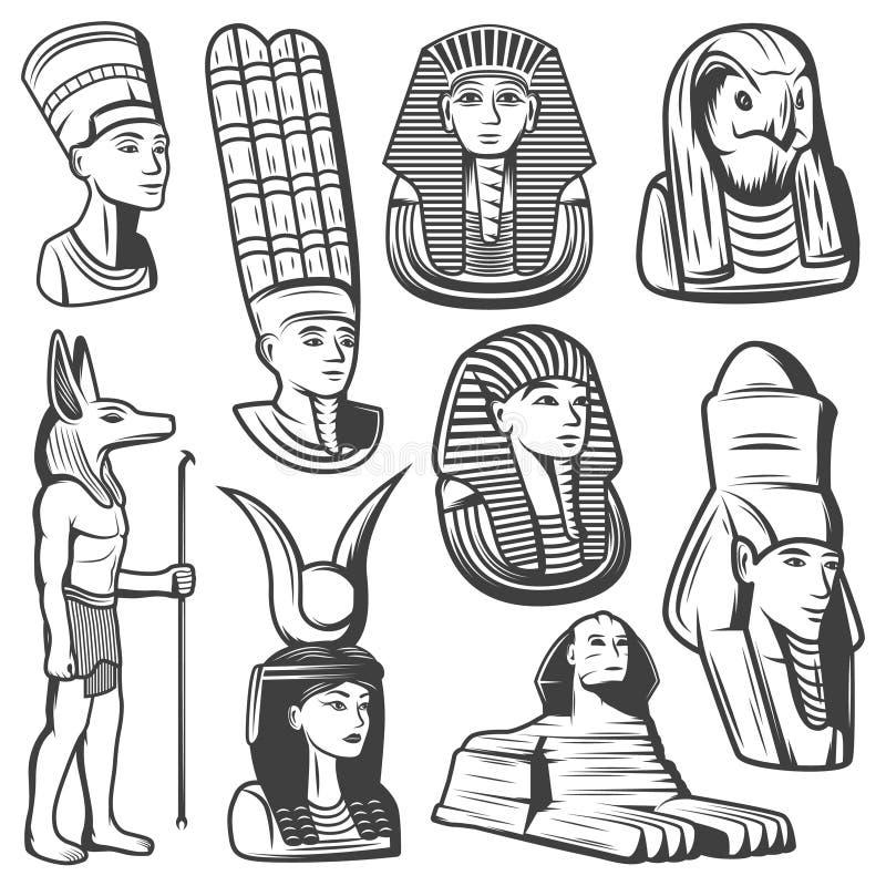 Винтажный Monochrome комплект людей древнего египета иллюстрация штока