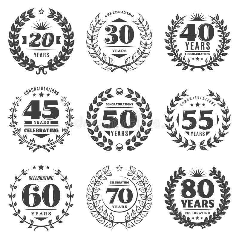 Винтажный Monochrome комплект ярлыков годовщины иллюстрация штока
