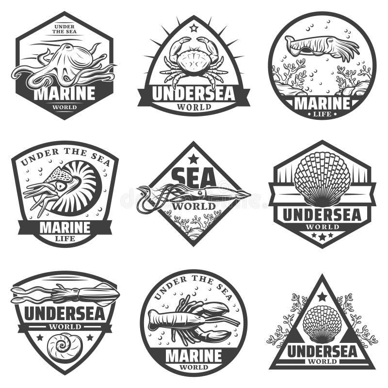 Винтажный Monochrome комплект ярлыков морских животных иллюстрация штока