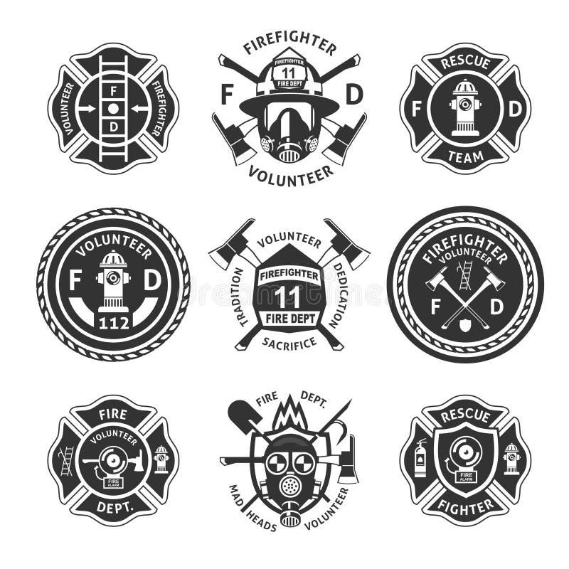 Винтажный Monochrome комплект ярлыков Firefighting иллюстрация штока