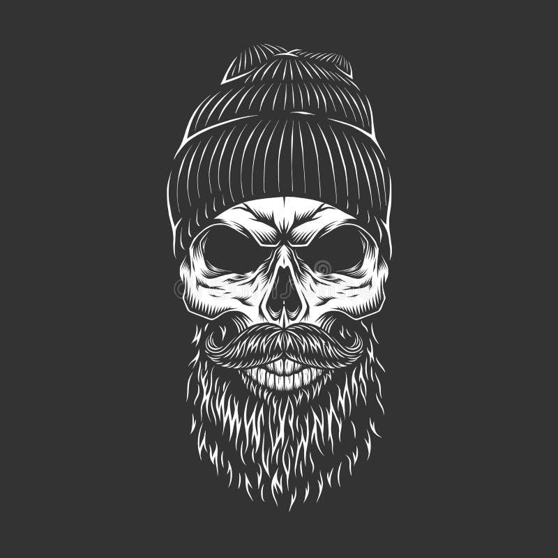 Винтажный monochrome череп lumberjack иллюстрация штока