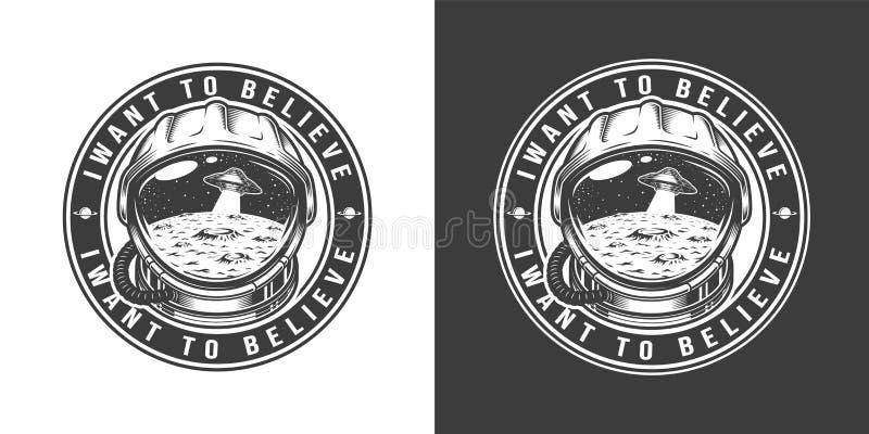 Винтажный monochrome ярлык круга космоса бесплатная иллюстрация