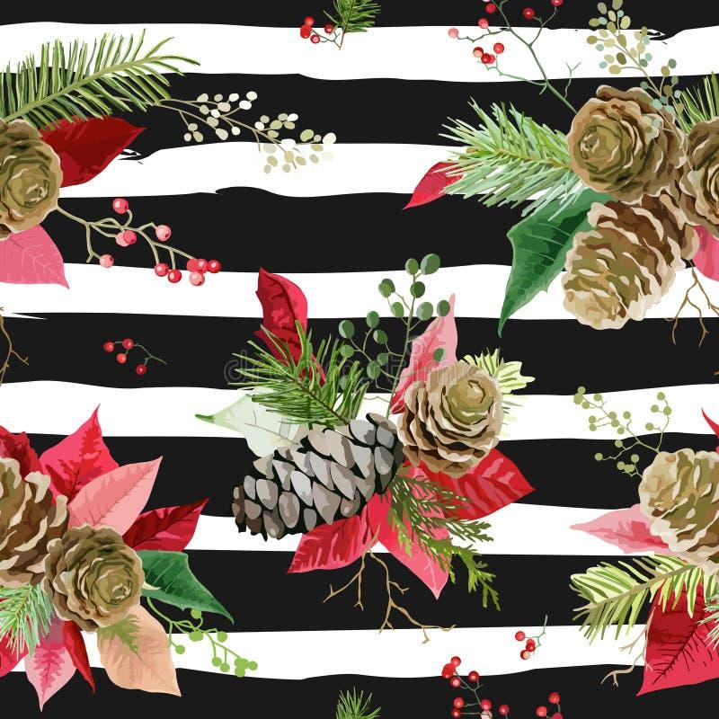 Винтажный Poinsettia цветет предпосылка - безшовная картина рождества иллюстрация штока