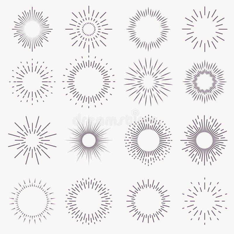 Винтажный sunburst разрывая взрыв starburst фейерверка восхода солнца лучей разрывал нарисованную руку искры светового луча звезд иллюстрация штока