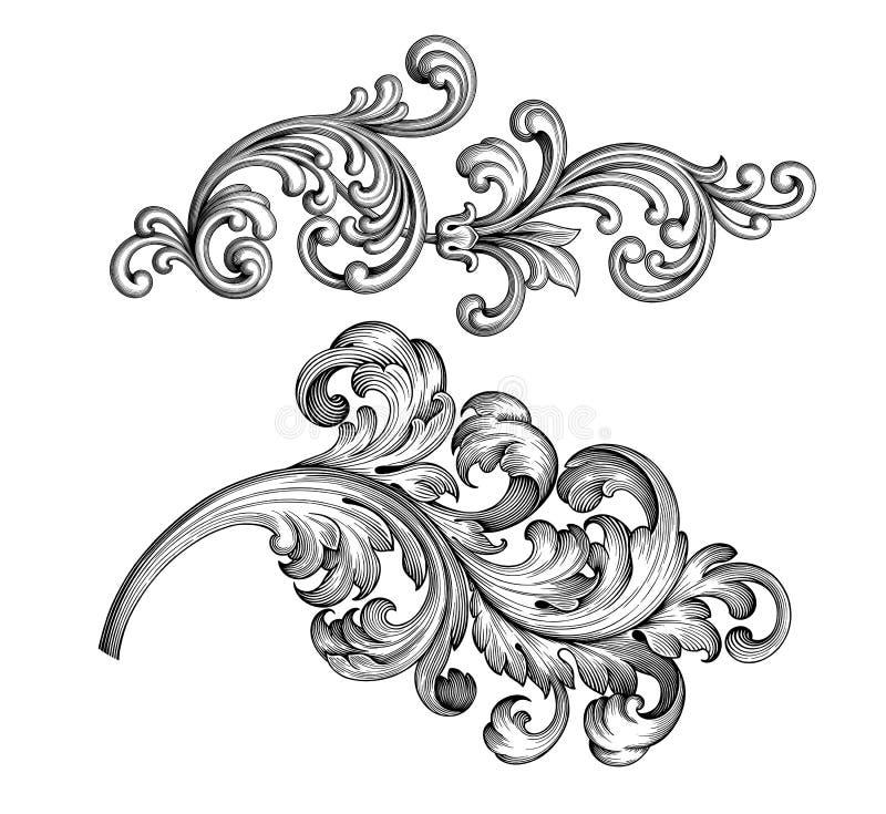 Винтажным барочным викторианским татуировки картины флористического орнамента границы рамки установленным выгравированный перечен иллюстрация вектора