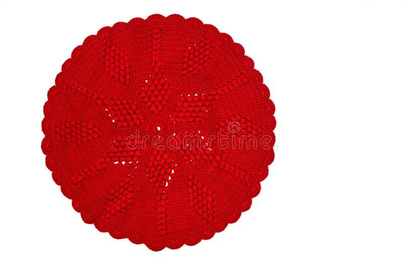 Винтажным doily связанный красным цветом стоковое фото