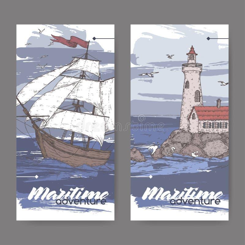 2 винтажных знамени цвета с высокорослым эскизом корабля и маяка Морская серия adveture иллюстрация вектора