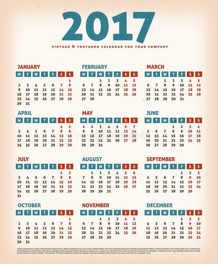 2017 винтажных календарей дизайна иллюстрация вектора